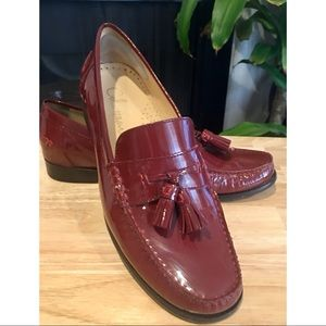 New RED Cole Haan Patent Leather Tasseled Loafers